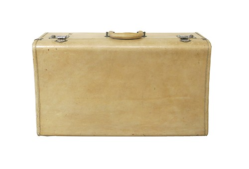 Vintage White Leather Small Suitcase With B Z Monogram