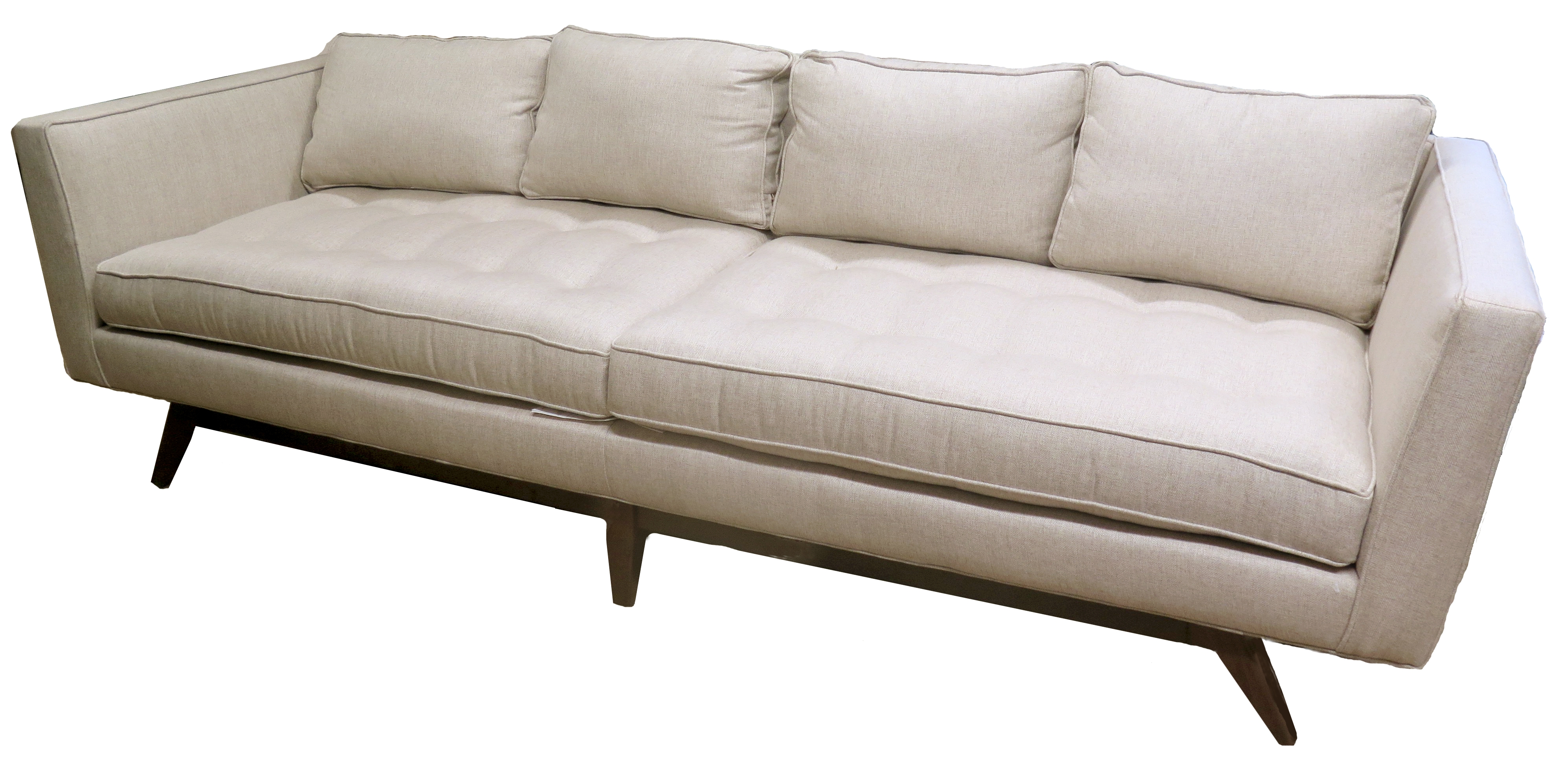 Tufted Upholstered Oatmeal Sofa With Tapered Wood Legs (BK)