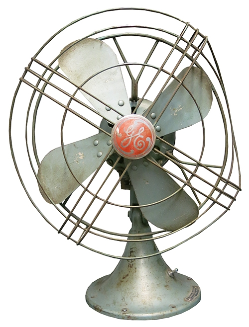 Vintage Blue Bent GE Fan