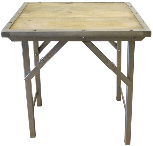 Folding Wood Side Table With Metal Framing And Legs