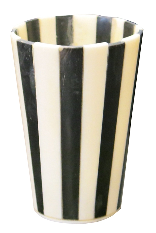 Black & White Striped Horn Cup