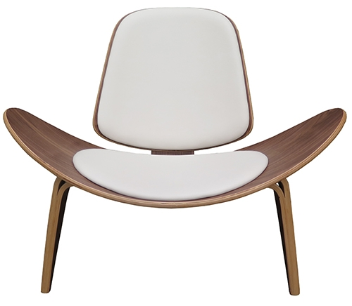 Hans Wegner Shell Chair Replica White Leather Wood