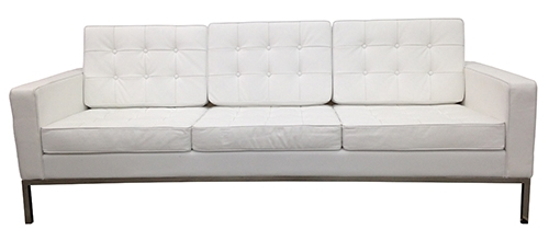 White Tufted Leather Sofa In The Style Of Florence Knoll (BK)