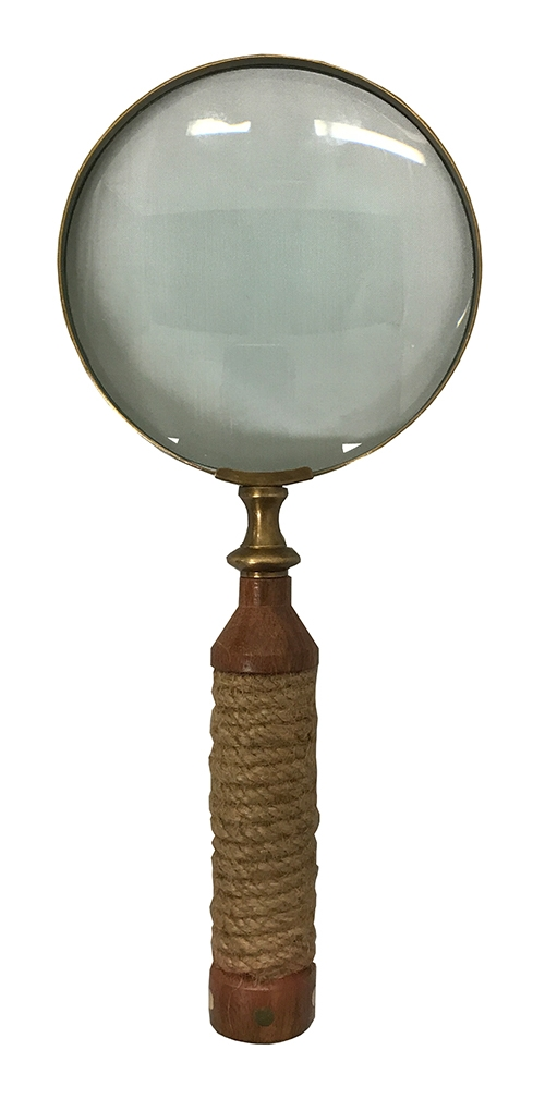 Magnifying Glass with Wrapped Rope & Wood Handle