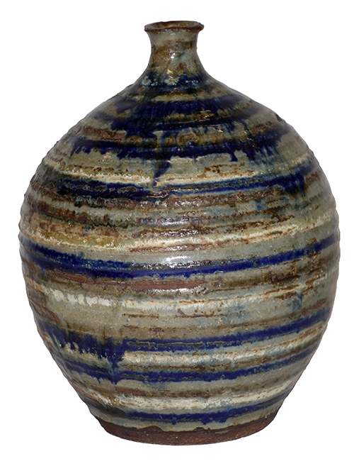 Bulbous Striped Green & Blue Vase with Small Opening