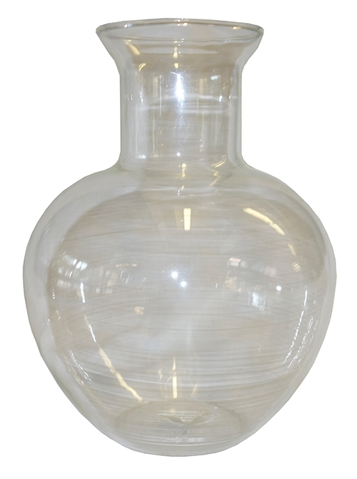 Clear Glass Vase With Bulbous Shape Narrow Neck Lost And Found