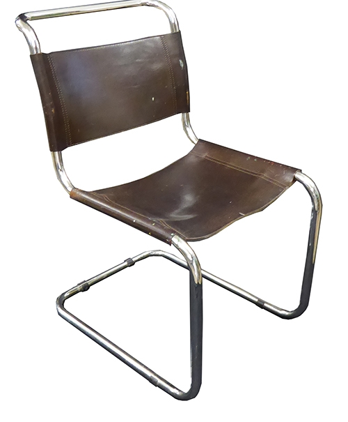 Marcel Breuer Tubular Chrome Chair With Brown Leather Seat U0026 Backrest
