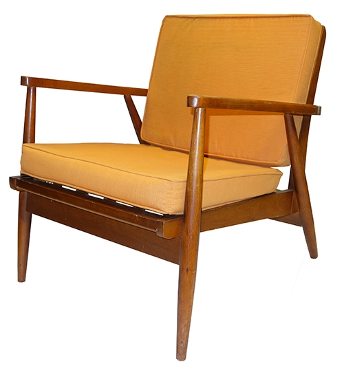 Vintage Danish Teak Chair with Orange Upholstery - Vintage Danish Teak Chair With Orange Upholstery - Lost And Found