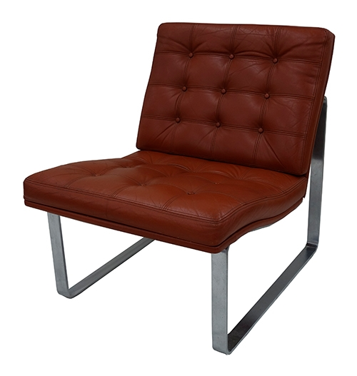1960's Tufted Leather Moduline Lounge Chair with Chrome Base (BK)