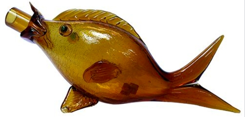 Vintage Handblown Amber Glass Fish Shaped Carafe