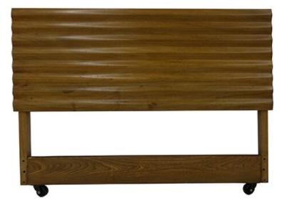 Teak Single Bed with Headboard, Footboard, and Frame Rails on Wheels, Corrugated Ridge Texture