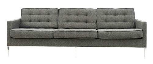 Heather Grey Tufted Wool Sofa in the Style of Florence Knoll (BK)