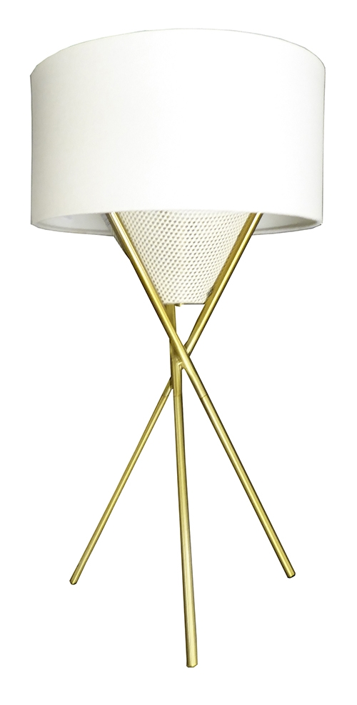 Superbe Brass Tripod Table Lamp With White Cloth Shade