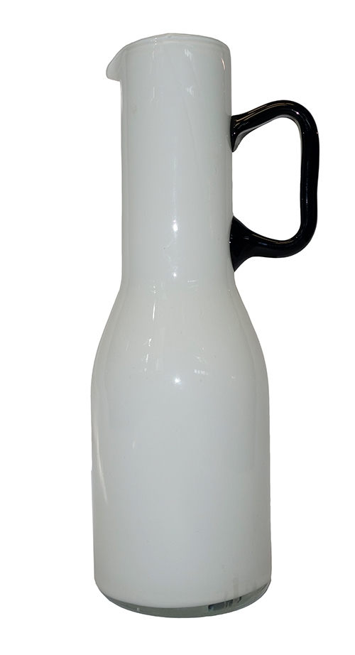 White Glass Pitcher Vase With Black Handle Lost And Found