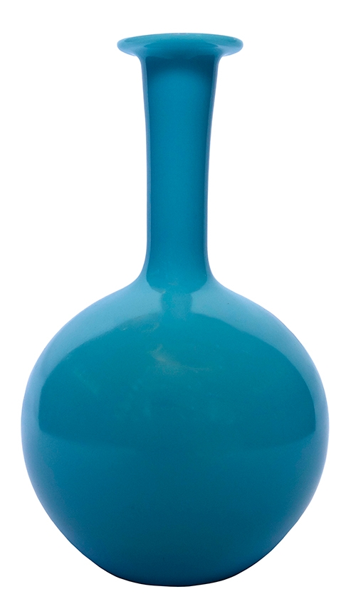 Blue Opaque Glass Bulb Vase Lost And Found