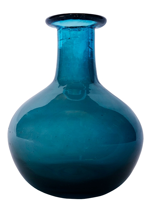 Teal Blue Glass Bulb Vase Lost And Found