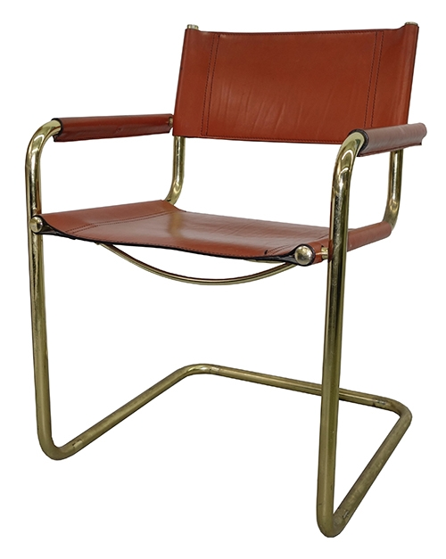 Vintage 60\'s-70\'s Cognac Color Leather Dining Room Chair with Brass Plated  Frame (4 in BK)
